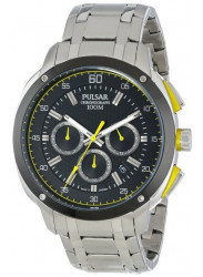 Pulsar Men's Chronograph Black Dial Stainless Steel Watch PT3393