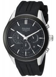 Pulsar Men's Chronograph Black Dial Silicone Watch PT3681