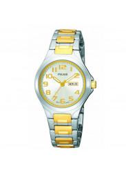 Pulsar Women's PXU037 Functional Two-Tone Silver Dial Day Date Watch