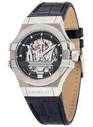 Maserati Men's Potenza Automatic Skeleton Dial Black Leather Watch R8821108001