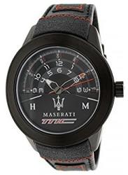 Maserati Men's Black Leather Strap Watch R8851110002