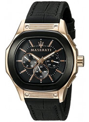 Maserati Men's Black Dial Leather Strap watch R8851116002