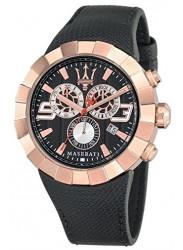 Maserati Tridente Men's Black Leather Watch R8871603002