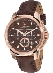 Maserati Men's Successo Chronograph Brown Leather Watch R8871621004