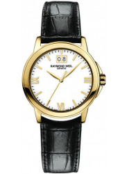 Raymond Weil Women's Tradition White Dial Black Leather Watch 5376-P-00307