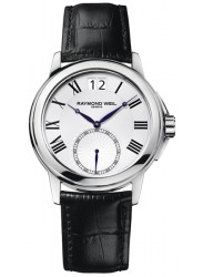 Raymond Weil Men's Tradition White Dial Black Leather Watch 9578-STC-00300
