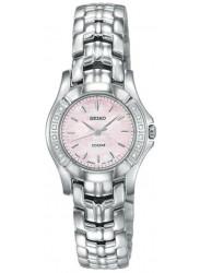 Seiko Women's Mother of Pearl Dial Diamond Silver Tone Watch SXGN49