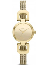 DKNY Women's Gold Tone Dial Stainless Steel Mesh Watch NY2101