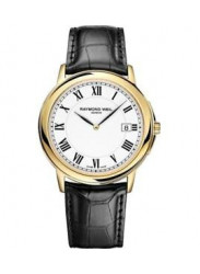 Raymond Weil Men's Tradition White Dial Gold Plated Black Leather Watch 5466-1PC-00300