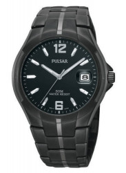 Pulsar Men's Black Dial Stainless Steel Black Watch PXH753