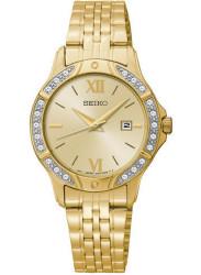 Seiko Women's Gold Dial Crystal Gold Tone Watch SUR860