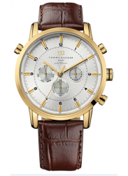 Tommy Hilfiger Men's Brown Leather Silver Dial Watch 1790874