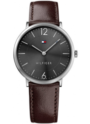 Tommy Hilfiger Men's Brown Leather Black Dial Watch 1710352