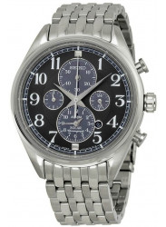 Seiko Men's Solar Chronograph Black Dial Stainless Steel Watch SSC207