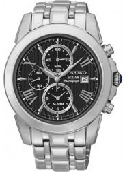 Seiko Men's Solar Chronograph Black Dial Stainelss Steel Watch SSC193