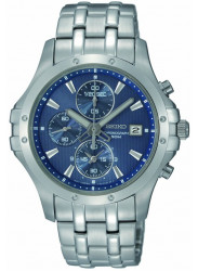 Seiko Men's Chronograph Blue Dial Stainless Steel Watch SNDC97