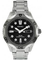Seiko Men's Prospex Solar Black Dial Stainless Steel Watch SNE107
