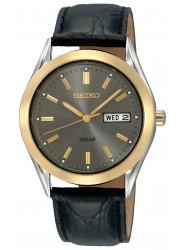 Seiko Solar Men's Grey Dial Black Synthetic Leather Strap Watch SNE050