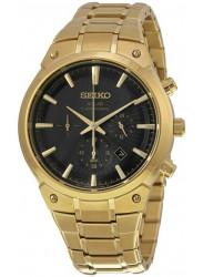 Seiko Men's Solar Chronograph Black Dial Gold-Tone Watch SSC320