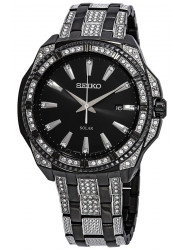 Seiko Solar Men's Black Dial Black and Crystal Set Watch SNE459