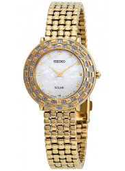 Seiko Tressia Solar Women's Mother of Pearl Dial Gold Stainless Steel Watch SUP374