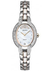 Seiko Women's Tressia Solar Mother of Pearl Dial Two Tone Watch SUP327
