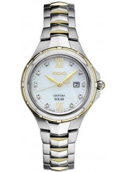 Seiko Coutura Solar Women's Mother of Pearl Dial Two-Tone Stainless Steel Watch SUT308
