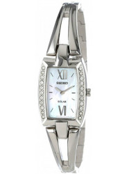 Seiko Women's Solar Tressia Mother of Pearl Dial Stainless Steel Watch SUP083