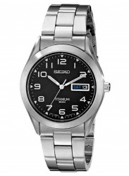 Seiko Men's Tiatnium Black Dial Watch SGG711