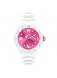 Ice-Watch SIWPBS10 Unisex Ice-White White Rubber Quartz Watch with Pink Dial