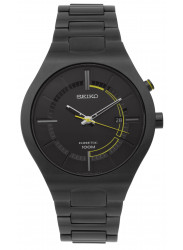 Seiko Men's Kinetic Black Dial Black Ion-plated Watch SKA649