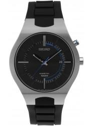 Seiko Men's Kinetic Black Dial Black Silicone Watch SKA651