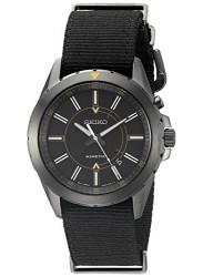 Seiko Men's Kinetic Recraft Black Dial Black Nylon Watch SKA705