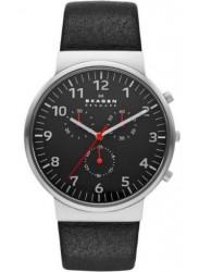 Skagen Men's Ancher Chronograph Black Leather Watch SKW6100