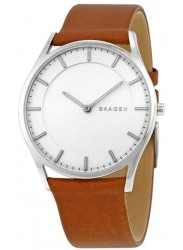 Skagen Men's Holst White Dial Brown Leather Watch SKW6219
