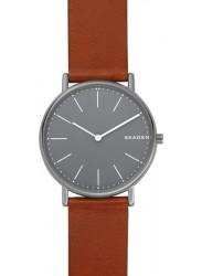Skagen Men's Signatur Grey Dial Brown Leather Watch SKW6429