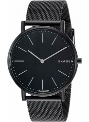 Skagen Men's Signatur Slim Titanium Black Dial Black Stainless Steel Watch SKW6484