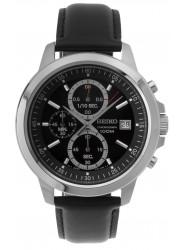 Seiko Men's Black Dial Leather Chronograph Watch SKS453