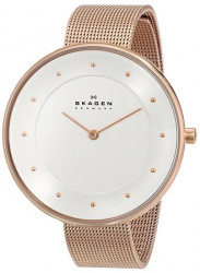 Skagen Women's Gitte Rose Gold-Tone Stainless Steel Mesh Watch SKW2142
