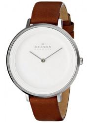 Skagen Women's Ditte Brown Leather Silver Dial Watch SKW2214