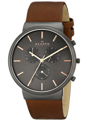 Skagen Men's Ancher Chronograph Brown Leather Watch SKW6106