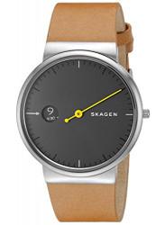 Skagen Men's Ancher Brown Leather Black Dial Watch SKW6194