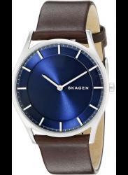 Skagen Men's Holst Blue Dial Brown Leather Watch SKW6237