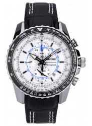 Seiko Men's Sportura Chronograph White Dial Black Leather Watch SNAF01P1