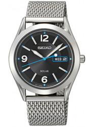 Seiko Men's Solar Black Dial Stainless Steel Mesh Watch SNE233