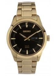 Seiko SNE368 Men's Core Solar Black Dial Yellow Gold Steel Bracelet Power Reserve Watch