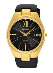 Seiko Women's Recraft Solar Black Dial Leather Watch SNE876
