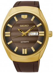 Seiko Men's Recraft Automatic Brown Dial Brown Leather Watch SNKN08