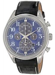 Seiko men's Solar Chronograph alarm leather watch