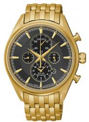 Seiko Men's Chronograph Black Dial Gold-tone Watch SSC210